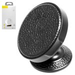 Car Holder Baseus, (black, magnetic, adhesive base, with PU Leather insert) #SUER-F01