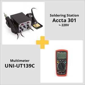 Combo: Accta 301 Hot Air Rework Station + UNI-T UT139C Digital Multimeter